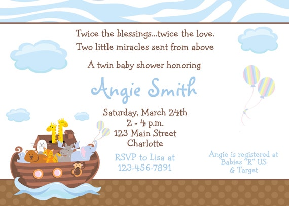 Noah S Ark Baby Shower Invitation Twins Baby Shower