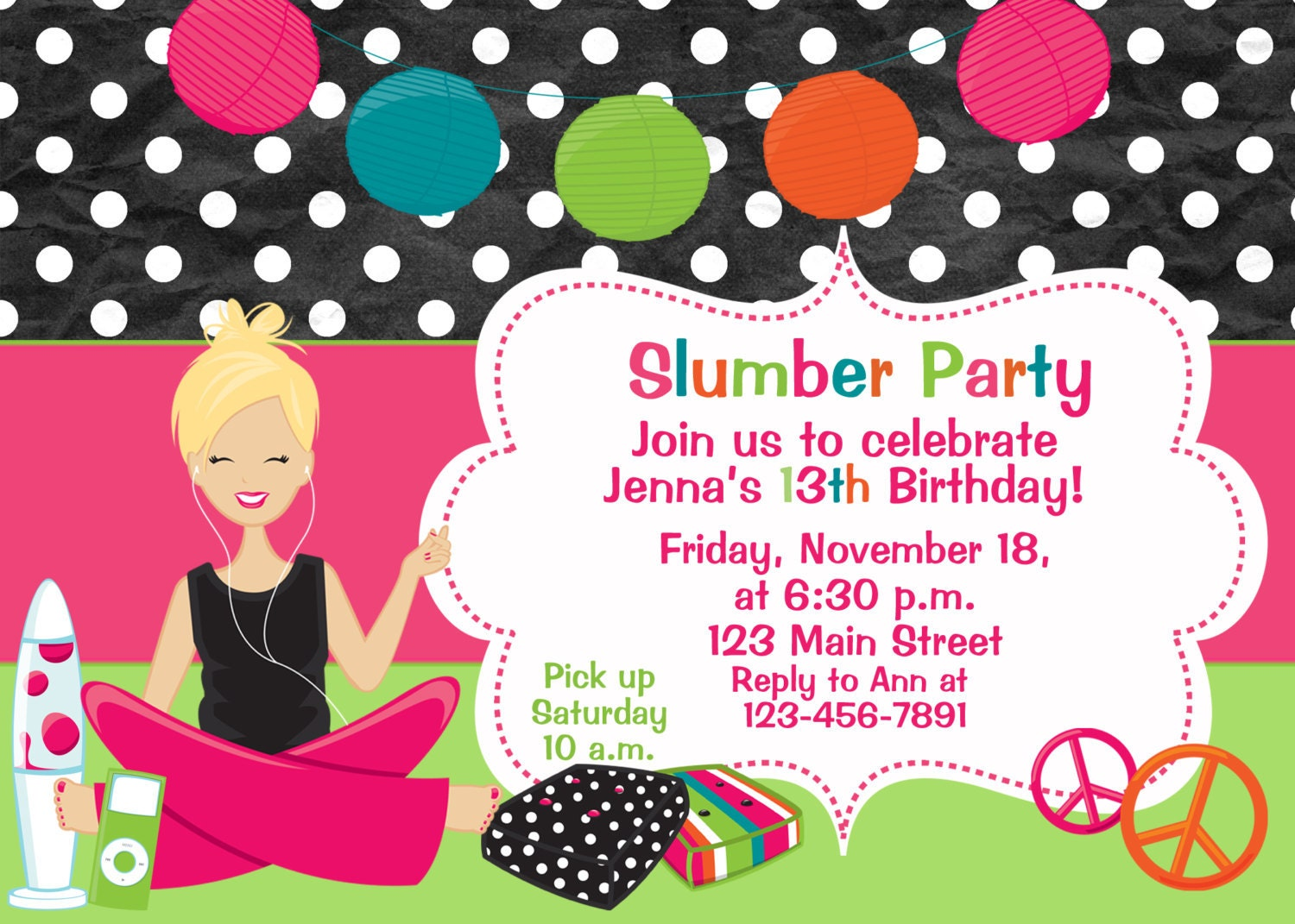 Pj Party Invitation Wording - Free Printable Invitation Design Ideas ...