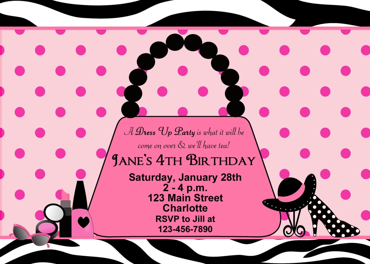 Dress Up Party Birthday Invitation glamour party purse