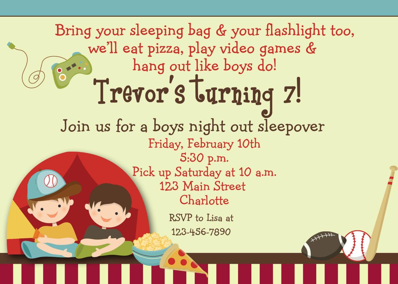 Boys Sleepover Birthday Party Invitation by TheButterflyPress