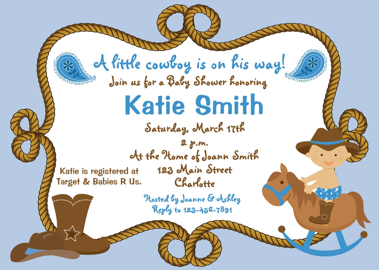 baby shower invitation baby cowboy boy by thebutterflypress