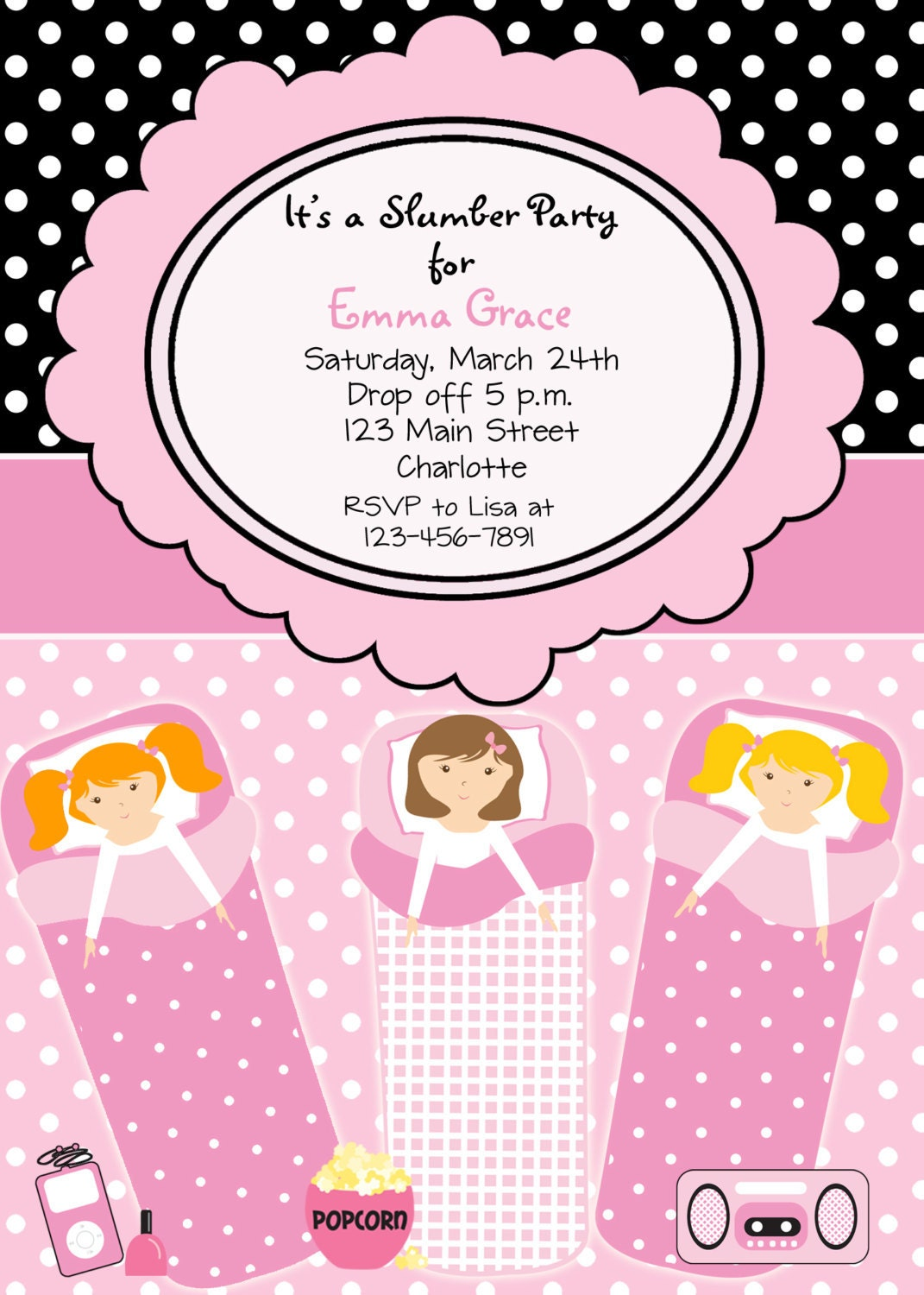 Slumber Party Invites gangcraftnet – Pajama Party Invites