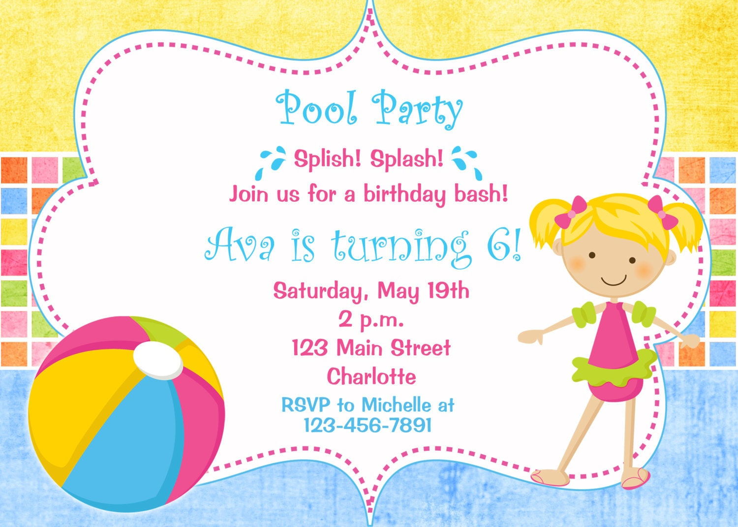 Pool party birthday invitation pool party pool toys – Pool Party Invitations for Girls