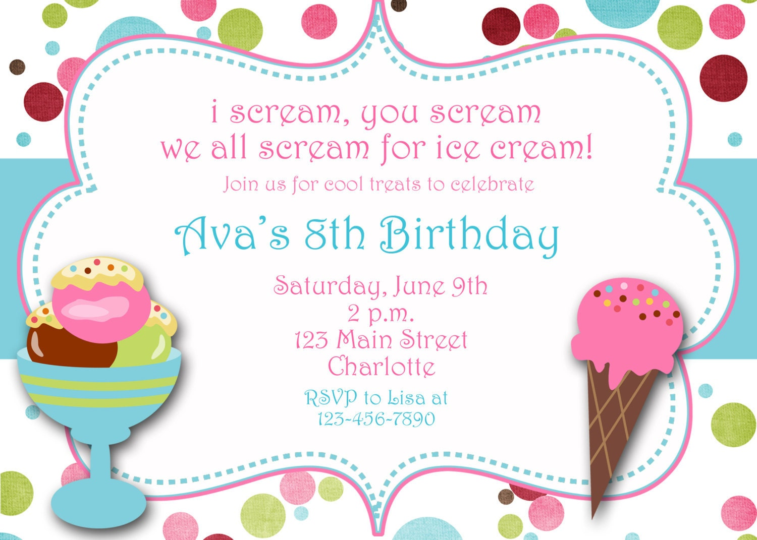 ice cream party birthday invitation ice by thebutterflypress. Black Bedroom Furniture Sets. Home Design Ideas