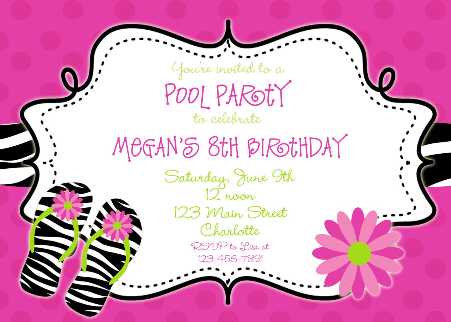 Zebra print Pool party birthday invitation pool party