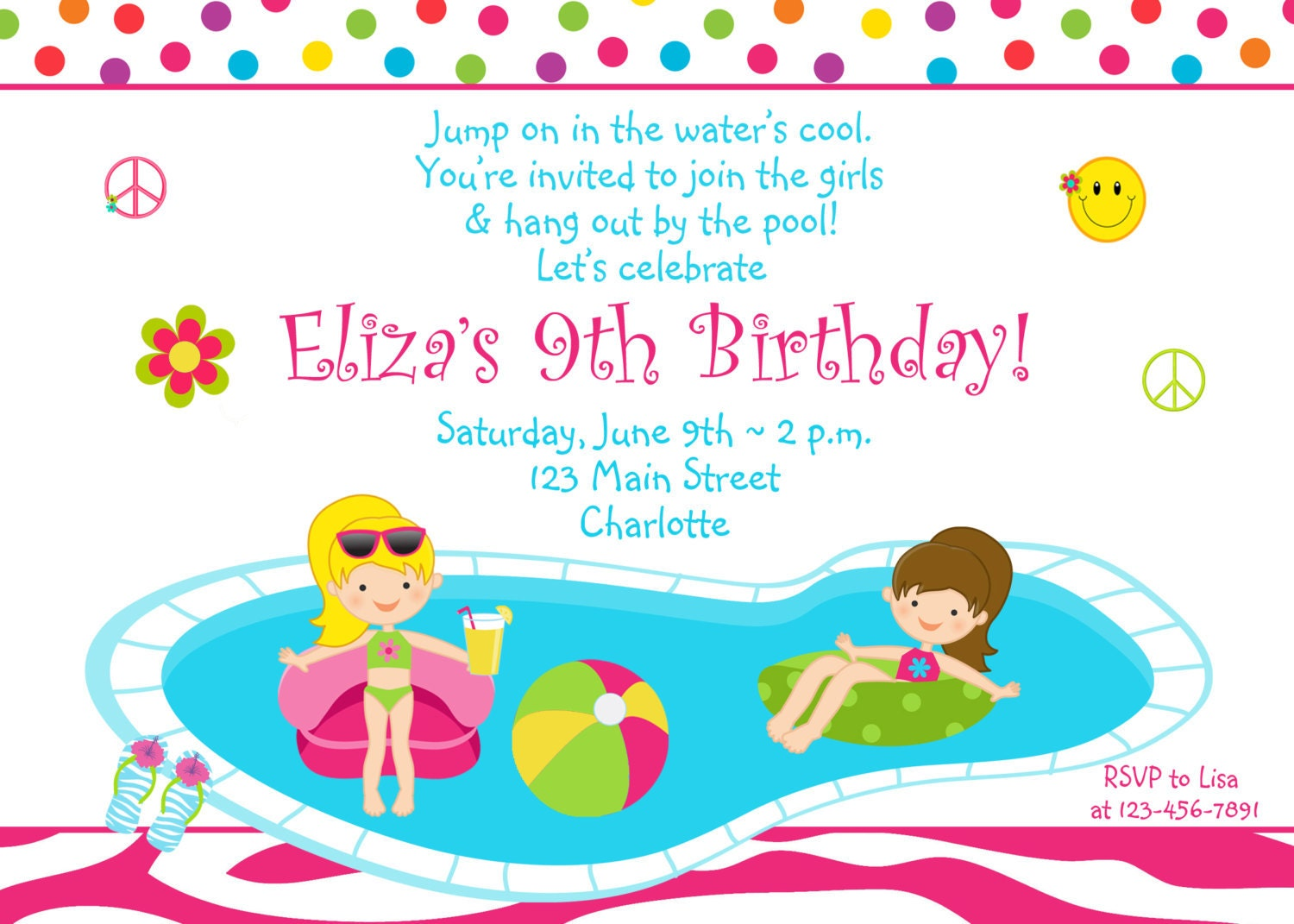 Pool party birthday invitation girls pool party zebra – Pool Party Invitations for Girls