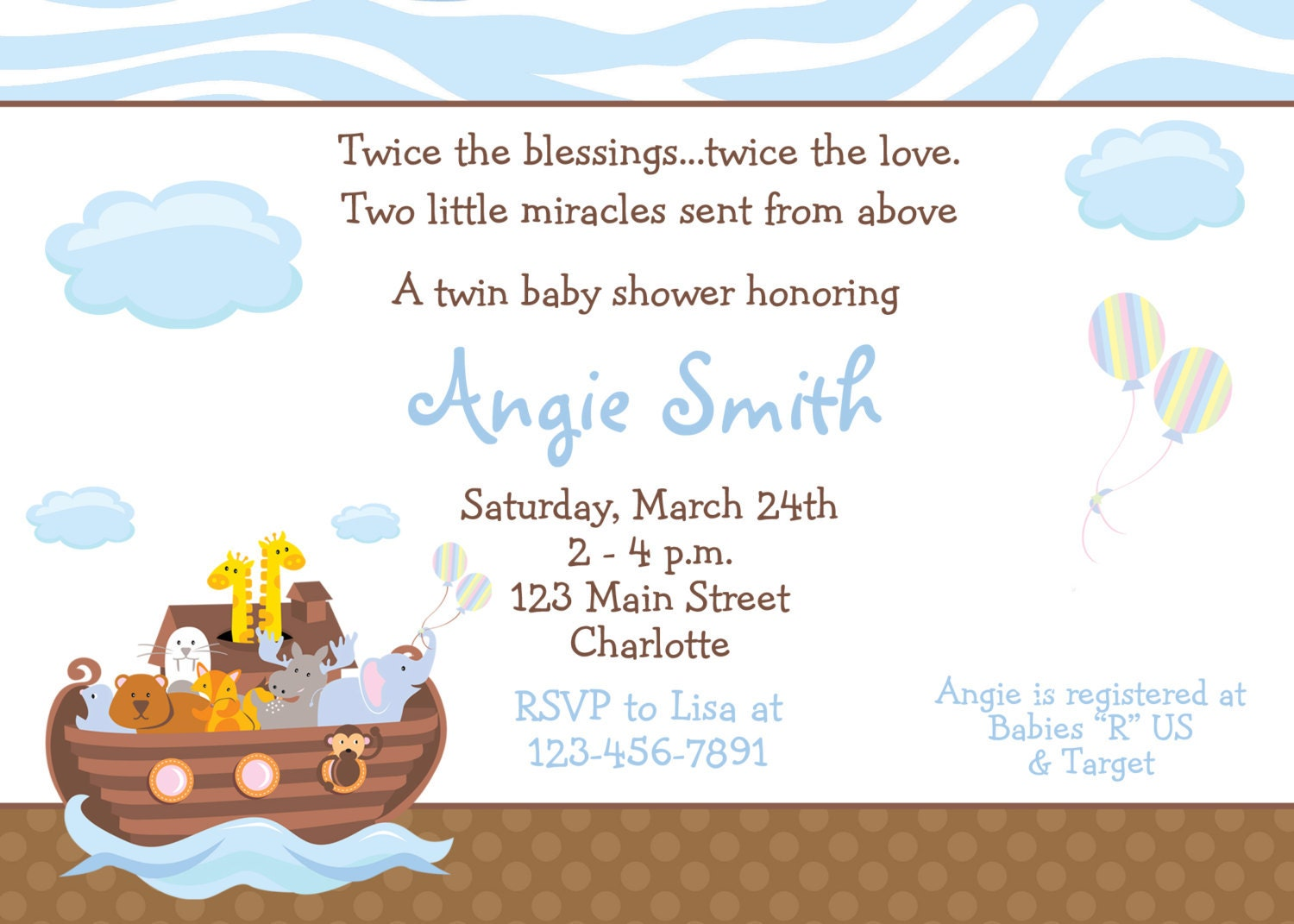 Noahs Ark Baby shower invitation twins baby shower – Free Baby Shower Invitation Cards