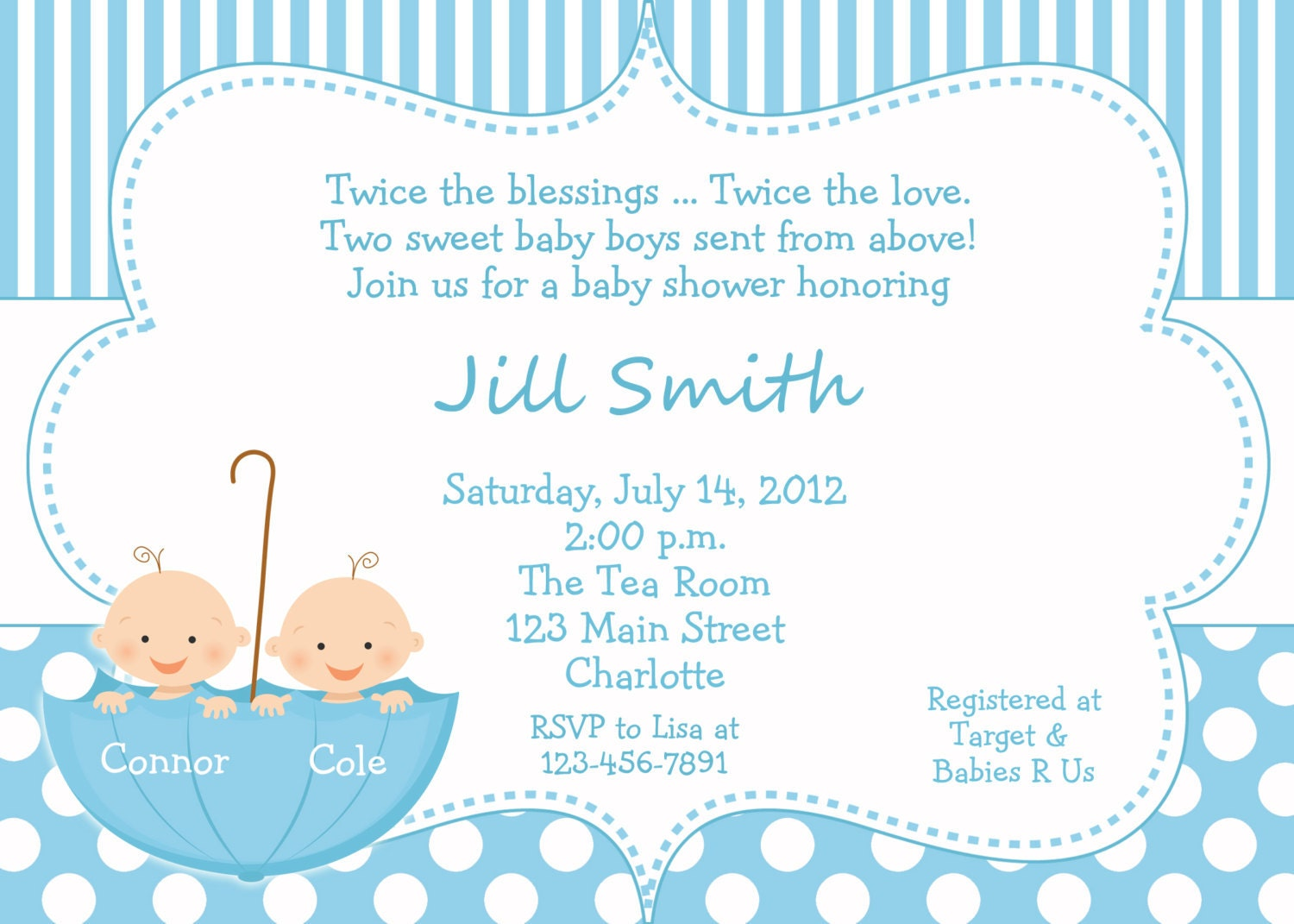 Twin Baby boys shower invitation twins by TheButterflyPress