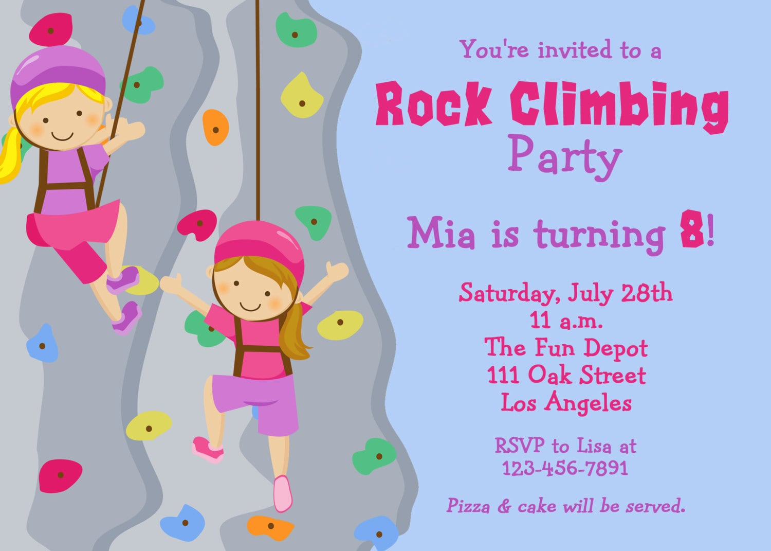 Rock Climbing Birthday party Invitation by TheButterflyPress