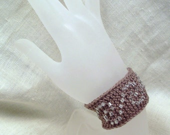 Taupe Knit Beaded Cuff- Swirl Slavonia Bracelet