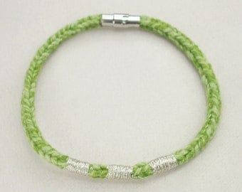 Green Recycled Cotton Silver Embroidered Magnetic Closure Vrlika Bracelet