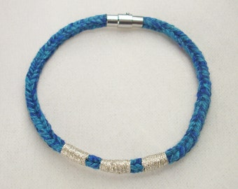 Blue Recycled Cotton Silver Embroidered Magnetic Closure Vrlika Bracelet