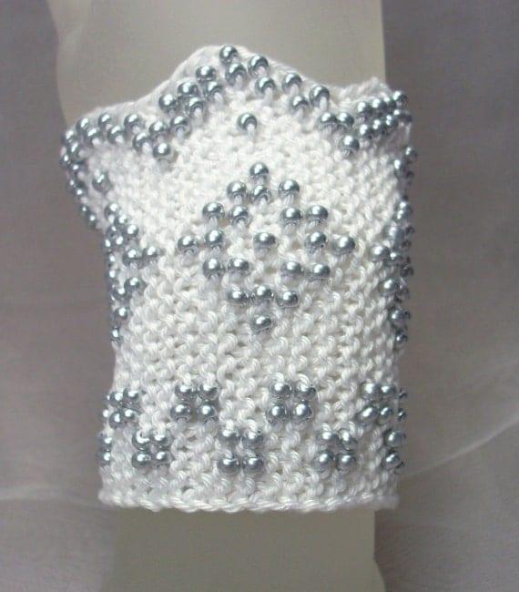 Bridal White Beaded Diamond Knitted Slavonia Cuff