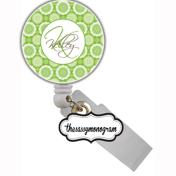 Personalized Retractable Nurse Id Badge Reel Holder - Create Your Own  - Grass - Green and Brown - Flowers - Custom Design