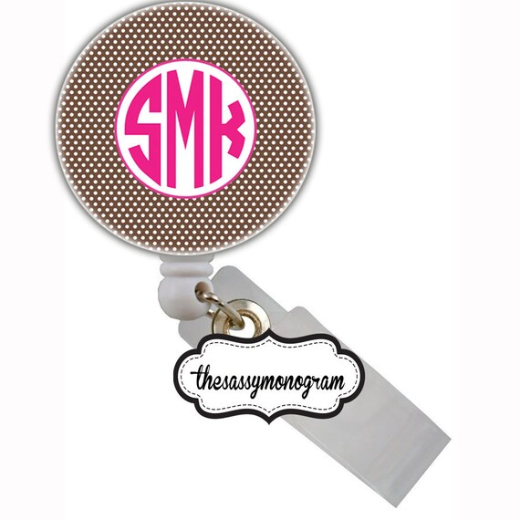Personalized Retractable Nurse Id Badge Reel Holder - Create Your Own  - Grass - Brown - Polka Dots - Custom Design