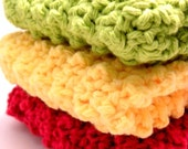 Fruit Basket Nubby Cotton Dishcloth Trio in Apple, Banana and Pear