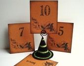 Halloween Wedding Table Numbers Blackbirds Ravens Purple Orange