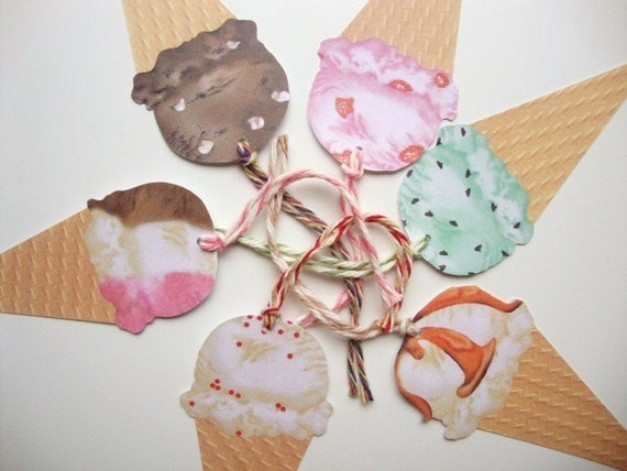 Ice Cream Cone Gift Tags Kids Birthday Party Summertime