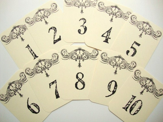 Wedding Table Numbers French Country Cottage Chic