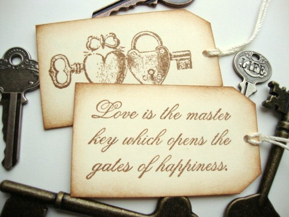 Wedding Favor Tags Skeleton Key Love Quote By PapergirlStudios