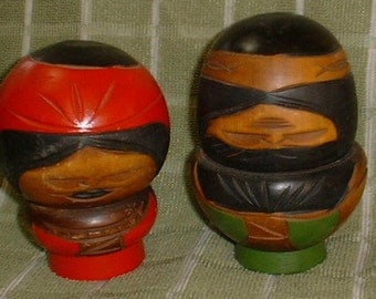 A Pair of Strange Little Hokkaido Nor Japan Wooden Dolls Unusual Weird and Fun