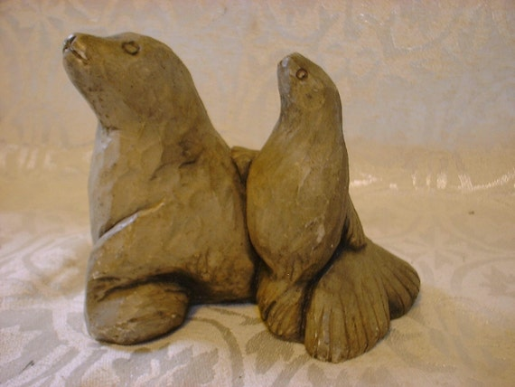 Vintage SEALS Sculpture Made with Mt St Helen Ash REDUCED