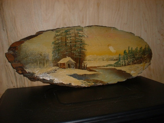 Rustic Nature Scene on Wood