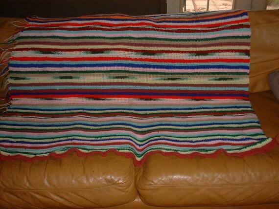 Striped Crochet Afghan Comforter 1960s Decor REDUCED