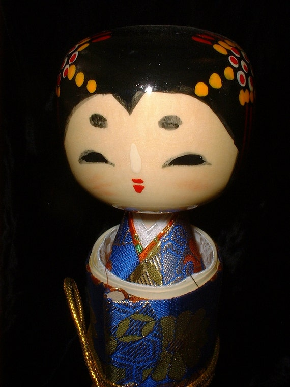 Wonderful Kokeshi Doll Wrapped in a Scroll REDUCED
