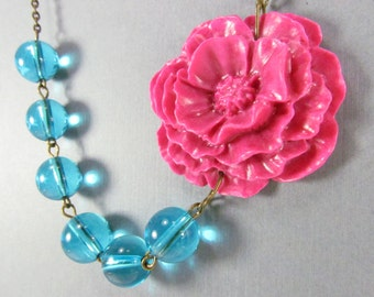 Flower Necklace, Hot Pink Cabbage Rose with Clear Blue Glass Beads, Brass Swallow, Bridesmaid Necklace - 0091