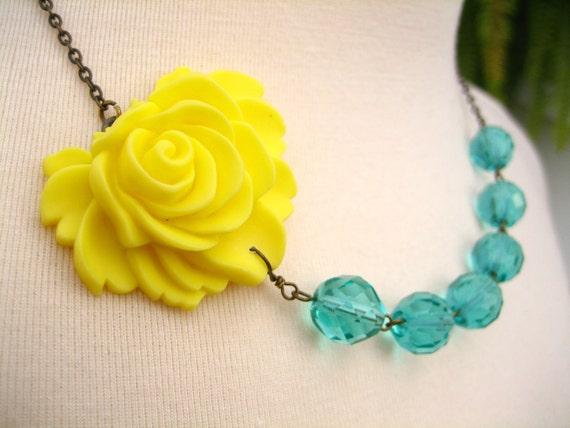 Bright Yellow Aqua Flower Necklace, Yellow Rose with Aqua Green Beads, Bridesmaid - 0080