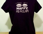 Happy as a Clam Womens Tee (Navy Blue)