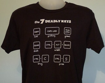 7 Deadly Keys Mens T-Shirt Black