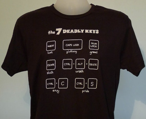 7 Deadly Keys Mens T-Shirt Black