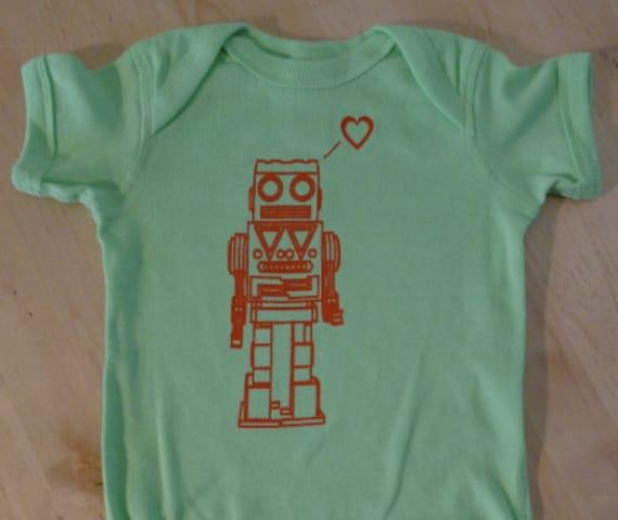 Robot Love Onesie - Lime Green with Orange Print