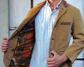 CORTEFIEL Corduroy Jacket with Leather Accents Wooden Buttons and Handkerchief Lining