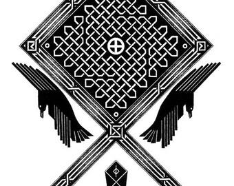 Odin and Thor Norse Design - 8.5X11 Original Art Print