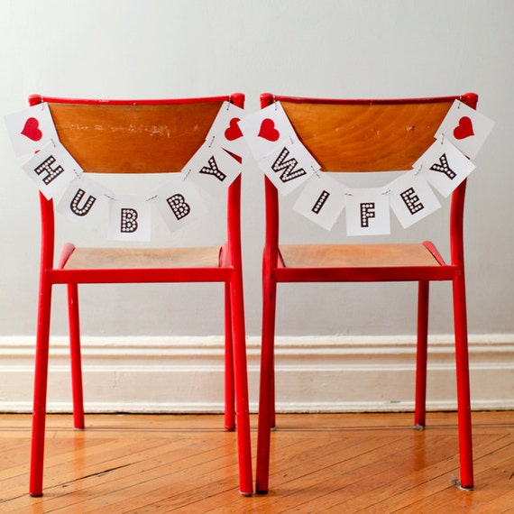 BRIDE & GROOM Wedding Chair Signs, Banners - Photo Prop