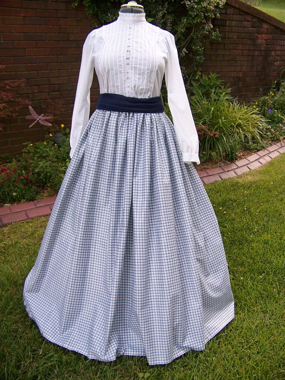 Civil War Skirt in Blue and white Plaid