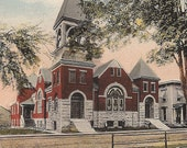 New York Presbyterian Church Canastota NY early 1900s Church Architecture study Antique Postcard Souvenirf from New York - Church Ephemera
