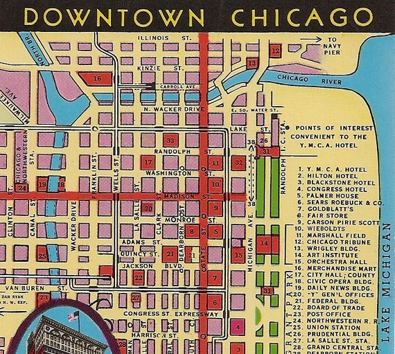 Vintage chicago map postcard downtown chicago ymca hotel for Nice hotels downtown chicago