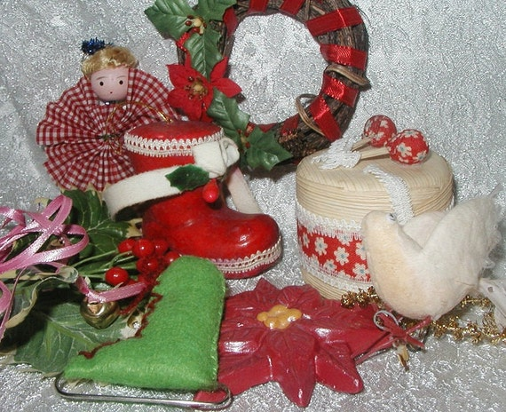 Vintage Christmas Ornaments Lot of 8 Gingham Angel Girl - Wreath - Drums - Dove - Ice Skate - Poinsettia - Holly - Boot - Holiday Decor