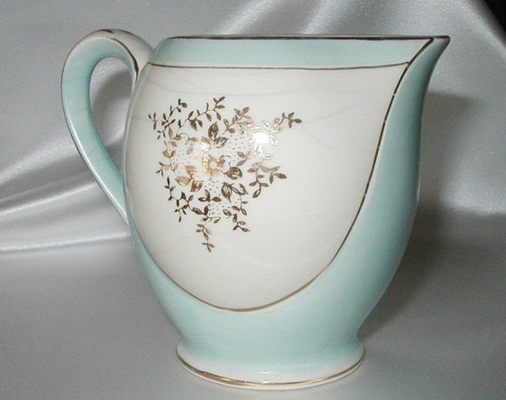 Vintage Blue Creamer with Gold Floral Design - Light Robin's Egg Blue with Gold Flowers and Trim made in Japan