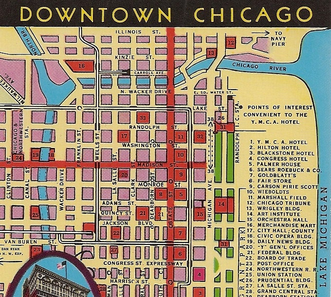 Vintage Chicago Map Postcard Downtown Chicago YMCA