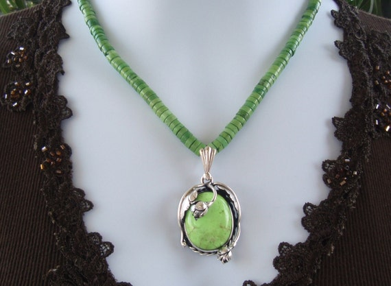 Apple Green Turquoise Silver Pendant Necklace