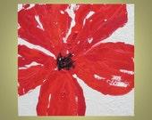 "Red Poppy painting Original 12""x12"" Title- POPPY 1 deep red beige devikasart on Etsy"