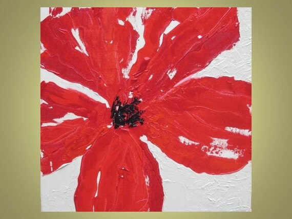 "Red Poppy painting Original 12""x12"" Title- POPPY 1 deep red beige devikasart on Etsy"