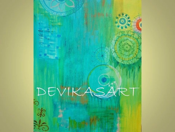 """Modern Abstract Painting Original - 20""""x24"""" Title-After the Rain greens blues by devikasart on Etsy"""