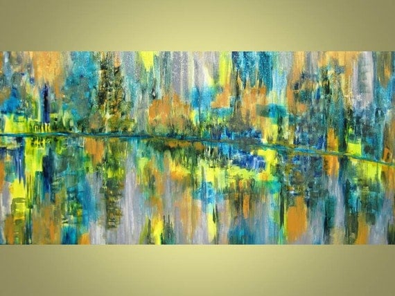 "MODERN ABSTRACT Large monsoon original painting 18""x36"" blue green grey"