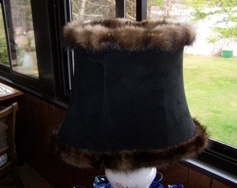 Mink Trimmed Lamp Shade
